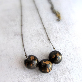 lunahoo - Black and gold beaded necklace with star dust beads, galaxy cosmic jewelry, long bead necklace.