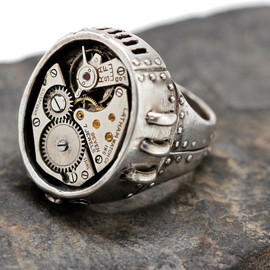 Blue Bayer Design NYC - Sterling steampunk ring Watch Part Ring sizes 4 to 13