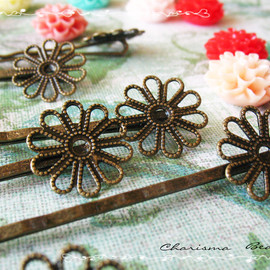 Luulla - 6 Filigree Bobby Pins Hair ornaments Antique Bronze, Flower 2x59x2mm