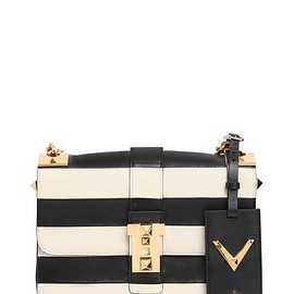 VALENTINO - FW2015 B-ROCKSTUD STRIPED LEATHER SHOULDER BAG