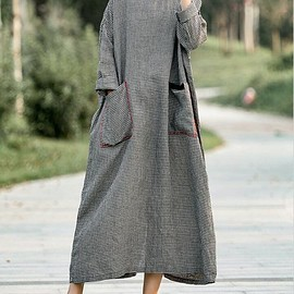 dresses for women - Women 's Small grid Dresses, maxi dress in Plaid dress, Linen dress long, maternity dress