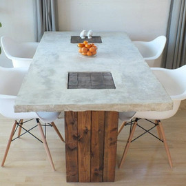RusticTrombone - Custom Concrete and Wood Modern Rustic Dining Table