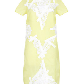 Christopher Kane - YELLOW EMBROIDERED AND TAPE-EMBELLISHED ORGANZA-SILK DRESS