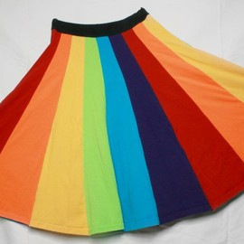 Rainbow Upcycled T-shirt skirt Kawaii Boho Festival M L