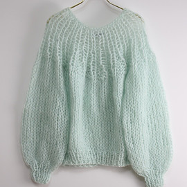 maiami - mohair pleated sweater (mint) | ニット