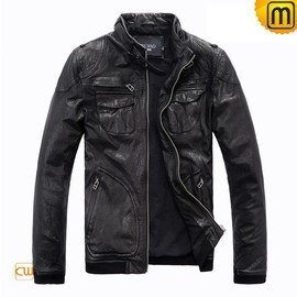 cwmalls - Black Motorcycle Leather Jacket CW813074 - jackets.cwmalls.com
