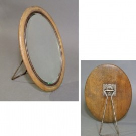 """1910-20's """"OVAL""""  Wooden Portable Beveled Mirror"""