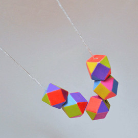 geometric necklace colorblock Fiesta hand painted
