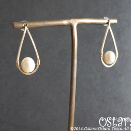 Ostara - 【14KGF】Stud Earrings, Fresh Water White Pearl Teardrop