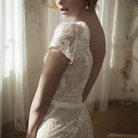 lihi hod - wedding dress spring 2014 lay gown cap sleeves close up