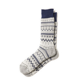 White Mountaineering - COTTON JACQUARD ZIGZAG BORDER PATTERN MIDDLE SOCKS