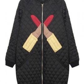 Black Lipstick Embroidery Quilted Coat