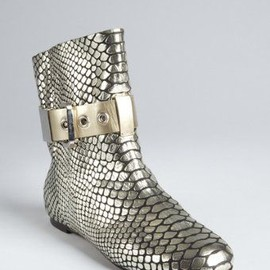 GIUSEPPE ZANOTTI - silver&platinum leather buckle ankle boots - $497.50