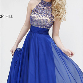 Sherri Hill 1970 - 2015 Sherri Hill 1970 High Neck Beaded Royal Long Prom Dress 2015