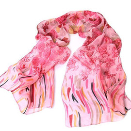 Bohemia Style Georgette Rose Print Pink Scarf
