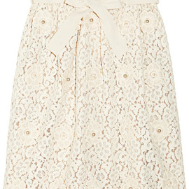Chloé - Appliquéd cotton-blend lace skirt