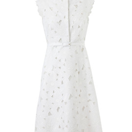 VALENTINO - Belted Silk and Floral Macramé Lace Dress