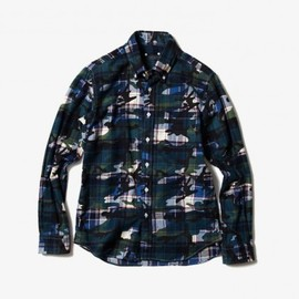 SOPHNET. - Camo Over Print Flannel B.D Shirt