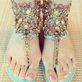 Shoes Pie - Gem crystal diamond thong flat sandals