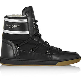 SAINT LAURENT - Faux shearling-lined leather and shell high-top sneakers