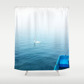 Takeru amano - A swan, a yacht & a boat Shower Curtain