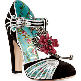 GUCCI - SS2017 Mariska Flower T-Strap 110mm Pump, Black/Silver