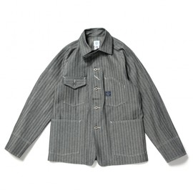 "POST O'ALLS - #1102 Engineer's Jacket ""Fisher Stripe / Indigo"""
