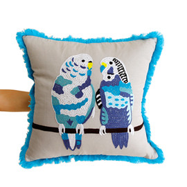 Birds Cushion parakeet couple blue