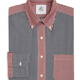 BLACK FLEECE BY Brooks Brothers - BOLD STRIPE FUN SHIRT Navy-White