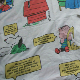 Vtg Peanuts Snoopy Charlie Brown Twin Sheet Fabric
