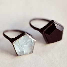 Aesa Hex Rings.  Sterling Silver with hexagon shaped aquamarine or onyx.