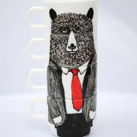 jimbobart - Hand painted set of 4 espresso cups - Mr Bear