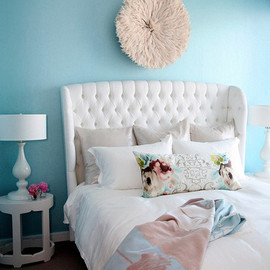 The Cross Decor & Design - bedrooms - Cameroon Juju Hat, Brigitte Oval Side Table, The Cross Marcene Tufted Queen Bed, turquoise, blue, walls, white, wingback, headboard, silver, metallic, pillows, white, lamps, mauve, blue, throw,