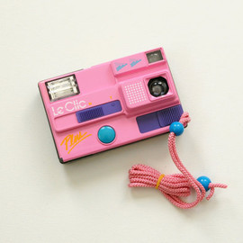 Le Clic - vintage 80s Le Clic Plus pink camera disc film orginal case with expired film pack 1988