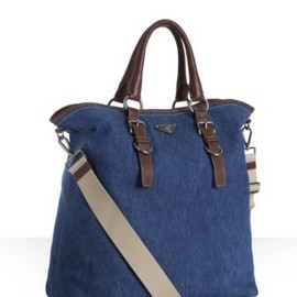 PRADA - denim and leather tote