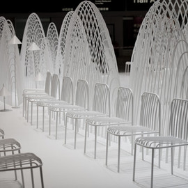 "Nendo - ""80 Sheets of Mountains"" installation with ""Thin White Chairs"", Stockolm"