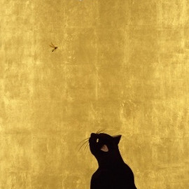 Cat and Wasp. By Muramasa Kudo, Japan. 24K Gold Leaf & acrylic on canvas.