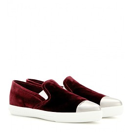 miu miu - Velvet slip-on sneakers