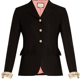 GUCCI - Ruffled-cuff wool and silk-blend jacket