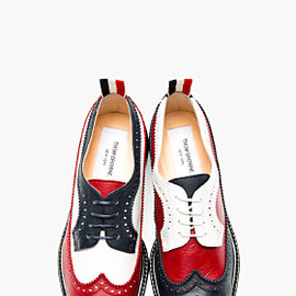THOM BROWNE - Red, White, & Navy Leather Longwing Brogues