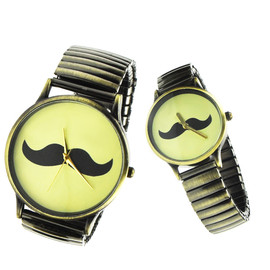 alanatt - Vintage Style Moustache Logo Couple Watches