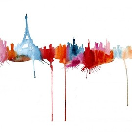 Elena Romanova - Abstract Silhouette Paintings of Famous Cityscapes