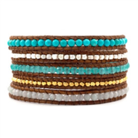 Chan Luu - Aqua Jade Mix Wrap Bracelet on Natural Brown Leather