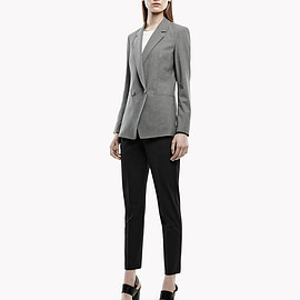 theory - A wrinkle-resistant blazer and a slim-fit, ankle-length pant with a medium rise