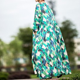 dress - Comfortable maxi dress, Vintage dress, printed dress, loose long dress, Plus size dress, robes