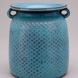 Gustavsberg Studio 1967 - Stig Lindberg Unique stoneware vase with impressed square pattern to body and semi matte turquoise glaze 1967