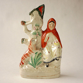 staffordshire - spill vase/little red riding hood/england 1840s-1890s