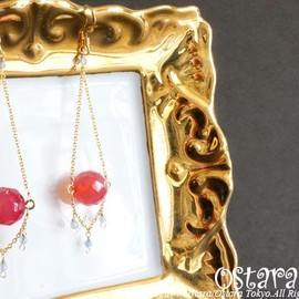 Ostara - 【14KGF】Earrings,14KGF Chain ,AAA Round Cherry Chalcedony