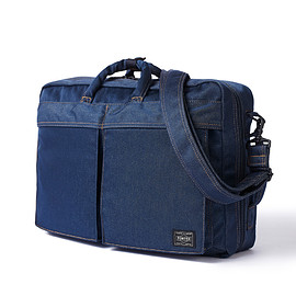 "HEAD PORTER - ""INDIGO"" 3WAY BRIEF CASE INDIGO"