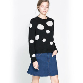 Slim Casual Contrast Color Dots Short Crewneck Sweater Pullover